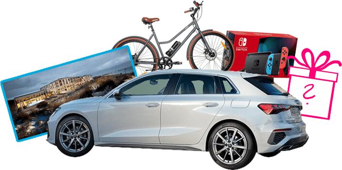 Gewinne: Audi A3, Hotel auf Sylt, eBikes, Nintendo Switch, Überraschung